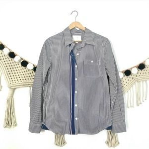 ANTHRO Blue Stripe Bee Embroidered Button Shirt